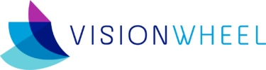 This image displays the logo for Vision Wheel, an internal communications agency specialized in creating one-of-a-kind employee experiences, result-defining employee education and long-lasting employee engagement.