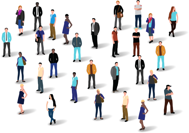 This image shows a large group of people standing together in a crowd to represent employee engagement.