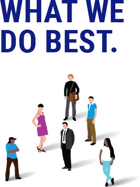 "This image shows people standing in a group with the caption ""What We Do Best"" to introduce the topics of employee engagement, education and experiences."
