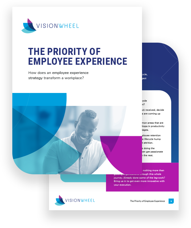 """This image displays the title page for the white paper called """"The Priority of Employee Experience: How does an employee experience strategy transform a workplace?"""""""