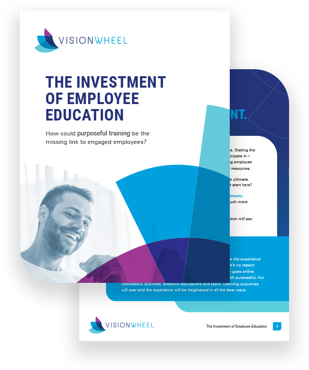 "This image displays the title page for the white paper called ""The Investment of Employee Education: How could purposeful training be the missing link to engaged employees?"""