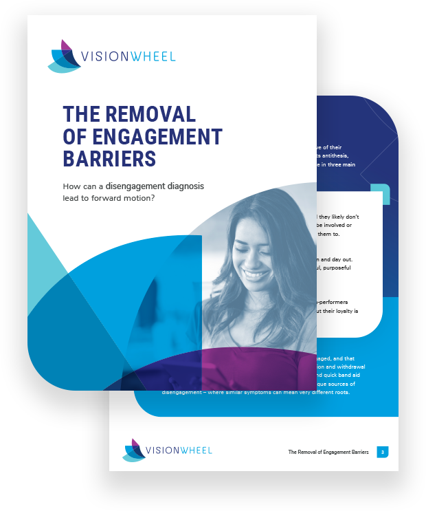 "This image displays the title page for a white paper discussing how a disengagement diagnosis can lead to improved employee engagement. The paper is called ""The Removal of Engagement Barriers: How can a disengagement diagnosis lead to forward motion?"""