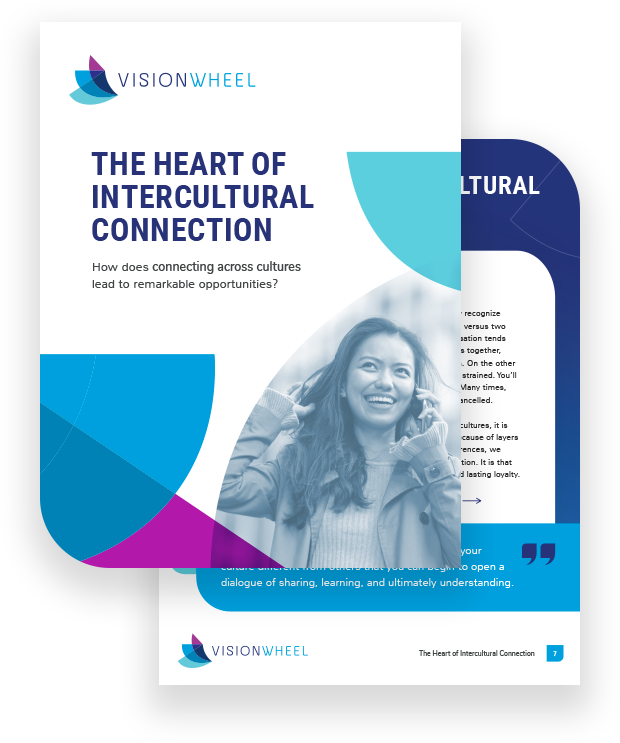 """This image displays the title page for the white paper called """"The Heart of Intercultural Connection: How does connecting across cultures lead to remarkable opportunities?"""""""