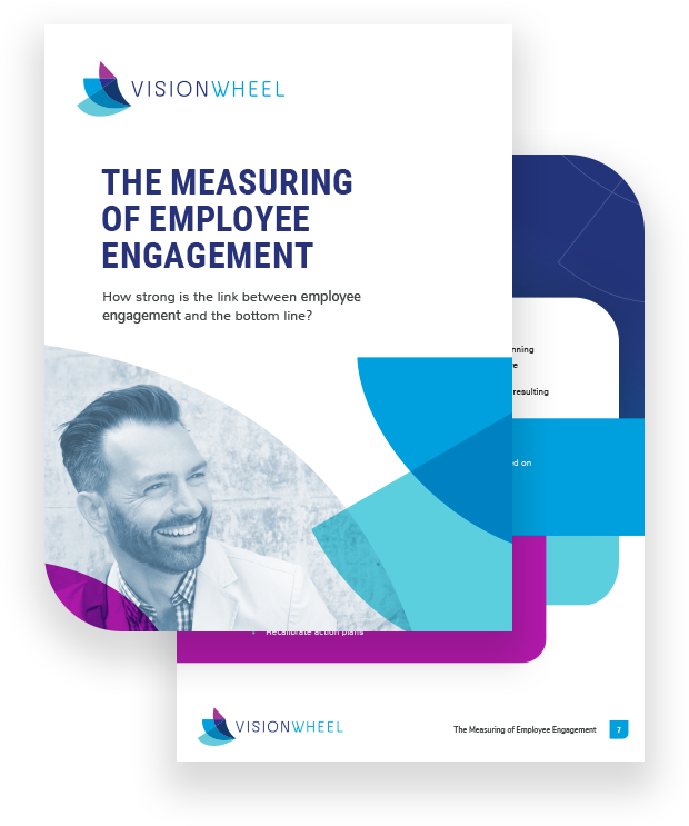 """This image displays the title page for the white paper called """"The measuring of employee engagement: How strong is the link between employee engagement and the bottom line?"""""""